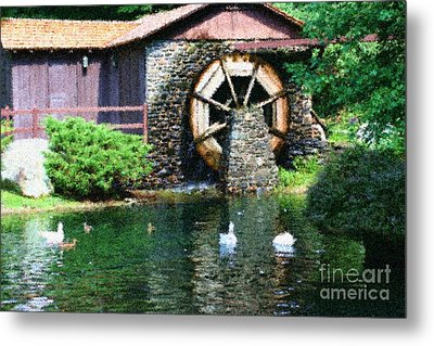 Metal Print featuring the painting Water Wheel Duck Pond by Smilin Eyes  Treasures