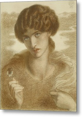 Water Willow - Study Of Female Head And Shoulders Metal Print by Dante Gabriel Rossetti