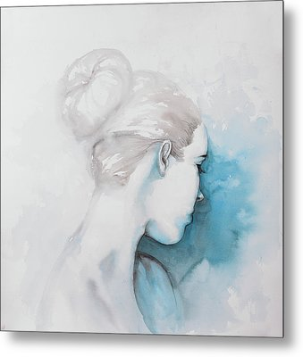 Watercolor Abstract Girl With Hair Bun Metal Print by Atelier B Art Studio