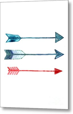 Watercolor Arrow Minimalist Painting Metal Print by Joanna Szmerdt