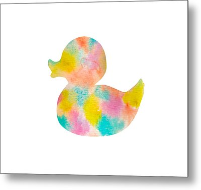 Watercolor Baby Duck Metal Print by Nursery Art