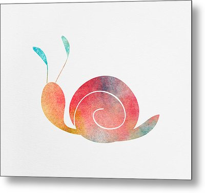 Watercolor Baby Snail Metal Print
