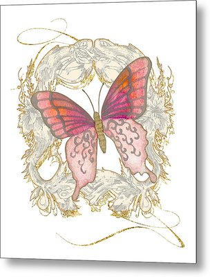 Watercolor Butterfly With Vintage Swirl Scroll Flourishes Metal Print
