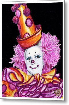 Watercolor Clown #26 Victor Ruiz Metal Print by Patty Vicknair