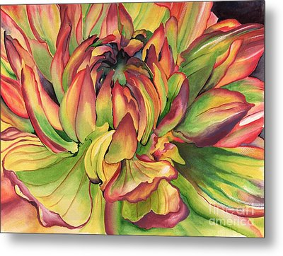 Watercolor Dahlia Metal Print by Angela Armano