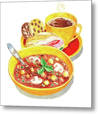 Metal Print featuring the painting Watercolor Food Illustration Full Lunch by Irina Sztukowski