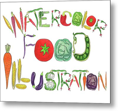 Metal Print featuring the painting Watercolor Food Illustration  by Irina Sztukowski
