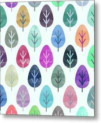 Watercolor Forest Pattern  Metal Print