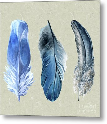 Watercolor Hand Painted Feathers Metal Print by Heinz G Mielke