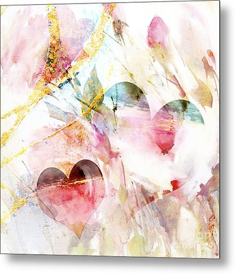 Watercolor Hearts Abstract Metal Print by WALL ART and HOME DECOR