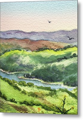 Metal Print featuring the painting Watercolor Hills Of California by Irina Sztukowski