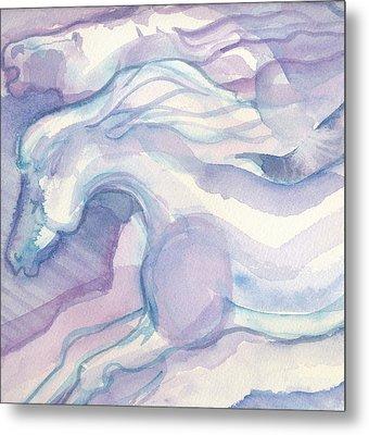 Watercolor Horses II Metal Print by Linda Kay Thomas