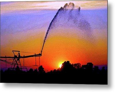 Watercolor Irrigation Sunset 3243 W_2 Metal Print