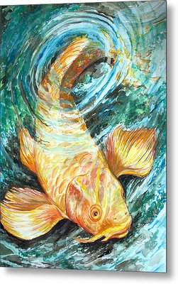 Metal Print featuring the painting Watercolor Koi Study by Jenn Cunningham