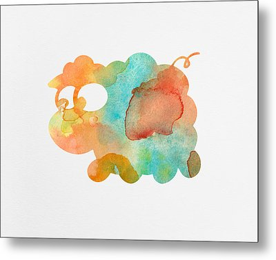 Watercolor Lamb For Nurseries Metal Print