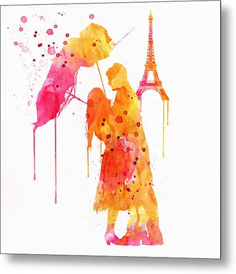 Watercolor Love Couple In Paris Metal Print by Marian Voicu
