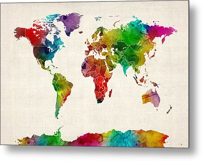 Watercolor Map Of The World Map Metal Print