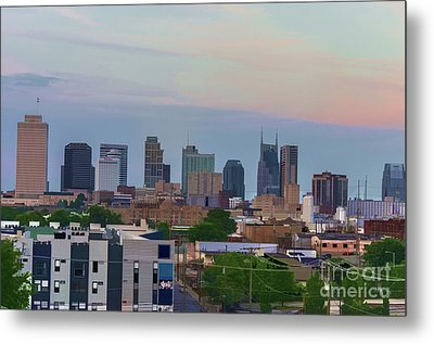 Watercolor Nashville Skyline During The Evening Sun Metal Print by Photo Captures by Jeffery