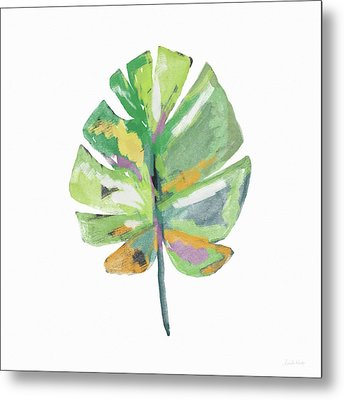 Metal Print featuring the mixed media Watercolor Palm Leaf- Art By Linda Woods by Linda Woods