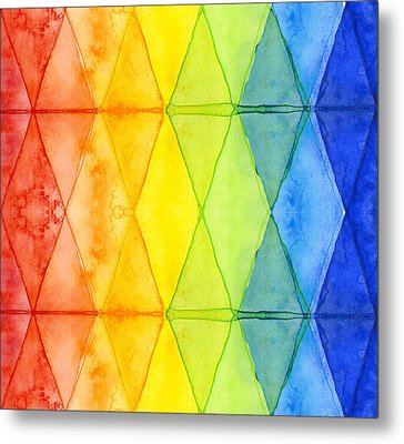 Watercolor Rainbow Pattern Geometric Shapes Triangles Metal Print
