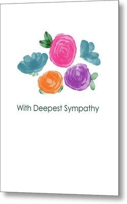 Watercolor Rose Sympathy Card- Art By Linda Woods Metal Print