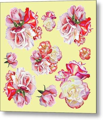 Watercolor Roses Golden Dance Metal Print