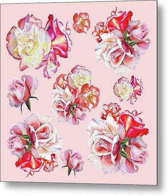Watercolor Roses Pink Dance Metal Print