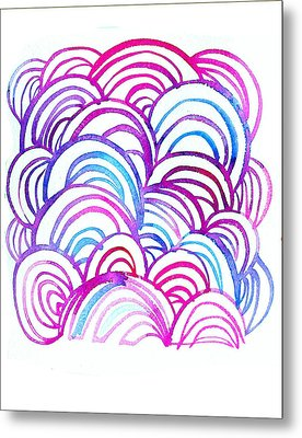 Watercolor Scallops In Pink And Blue Metal Print
