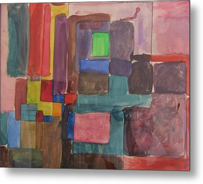 Watercolor Shapes Metal Print by Barbara Yearty