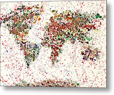 Watercolor Splashes World Map 2 Metal Print by Georgeta  Blanaru