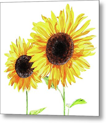 Metal Print featuring the painting Watercolor Sunflowers by Irina Sztukowski