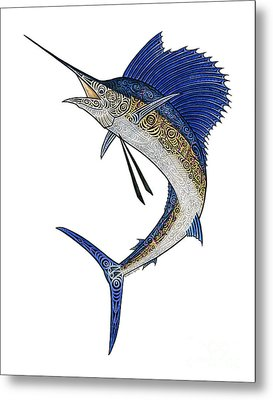 Watercolor Tribal Sailfish Metal Print by Carol Lynne