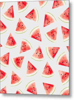 Watercolor Watermelon Pattern Metal Print