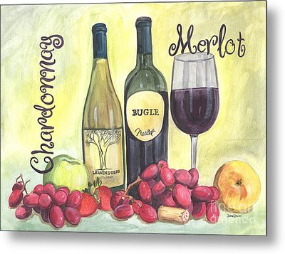 Watercolor Wine Metal Print by Debbie DeWitt