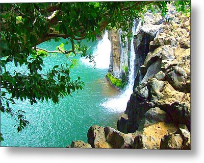 Waterfall At Peter Pan's Treehouse Metal Print by Angela Annas