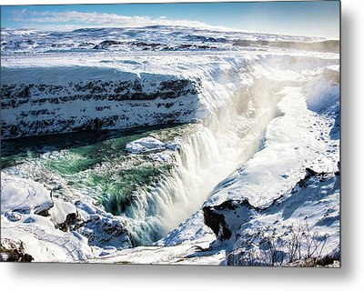 Metal Print featuring the photograph Waterfall Gullfoss Iceland In Winter by Matthias Hauser