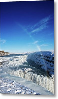 Metal Print featuring the photograph Waterfall Gullfoss In Winter Iceland Europe by Matthias Hauser