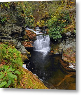 Waterfall In Autumn Metal Print by Stephen  Vecchiotti