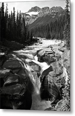 Waterfall In Banff National Park Bw Metal Print by RicardMN Photography