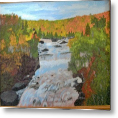 Waterfall In Fall Metal Print by Juanita Couch