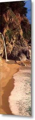 Waterfall, Mcway Cove, Big Sur, Ca Metal Print by Panoramic Images