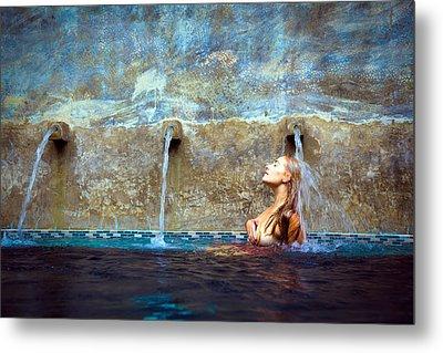 Waterfall Mermaid Metal Print by Karl Alexander