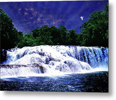 Waterfall Painting Waterfall Prints On Canvas - Agua Azul Metal Print by Zenisart Gallery