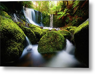 Waterfall Painting Waterfall Prints On Canvas - Horseshoe Waterfalls Metal Print by Frances Leigh