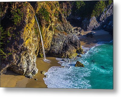 Waterfall Pouring Into The Ocean Metal Print by Garry Gay