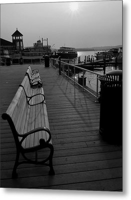 Waterfront Benches II Metal Print