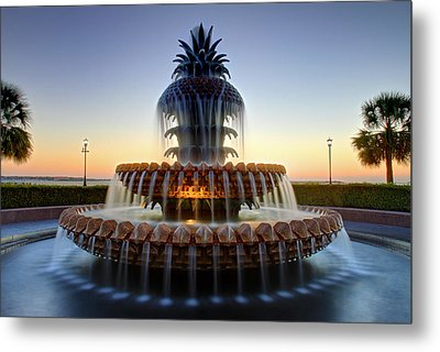Waterfront Park Pineapple Fountain In Charleston Sc Metal Print by Pierre Leclerc Photography