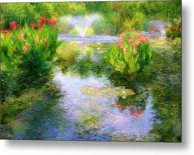 Watergarden In Monet Style Metal Print by Crystal Garner