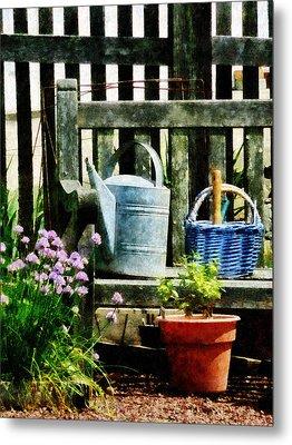 Watering Can And Blue Basket Metal Print by Susan Savad