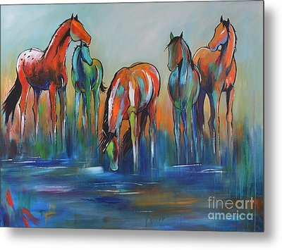Metal Print featuring the painting Watering Hole 5 by Cher Devereaux